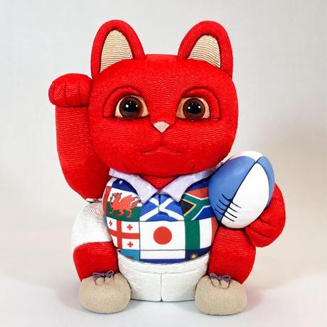 江戸木目込み人形 招き猫 /  ラグビー 赤 Lucky Cat Rugby Red
