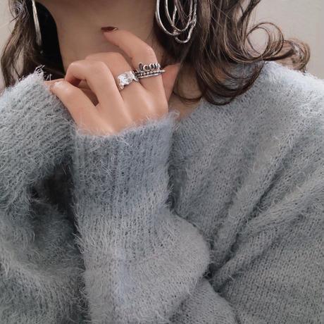 silver入荷【ゆうパケ対象】エンボスメタルフォルムリング