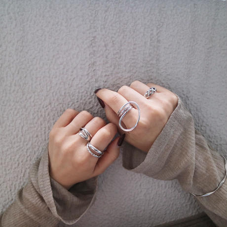 silver925 double line ring