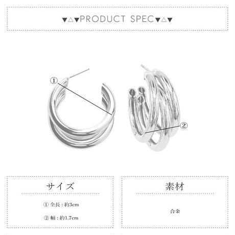 gold入荷【ゆうパケ対象】3連フープピアス