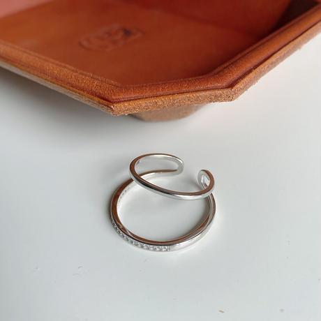 【ゆうパケ対象】silver925 double line stone ring