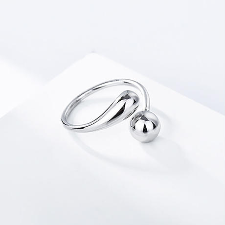 silver925 drop ball ring