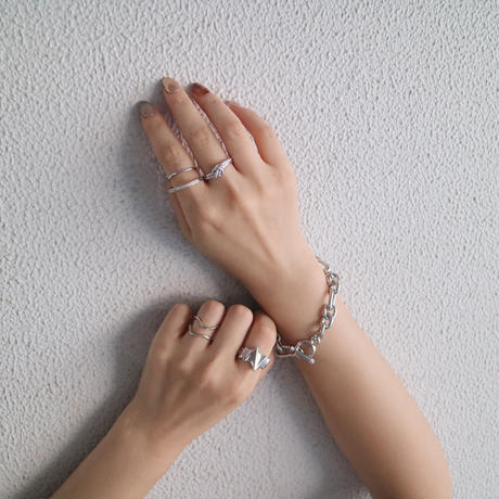 silver入荷【ゆうパケ対象】silver925 double line open ring