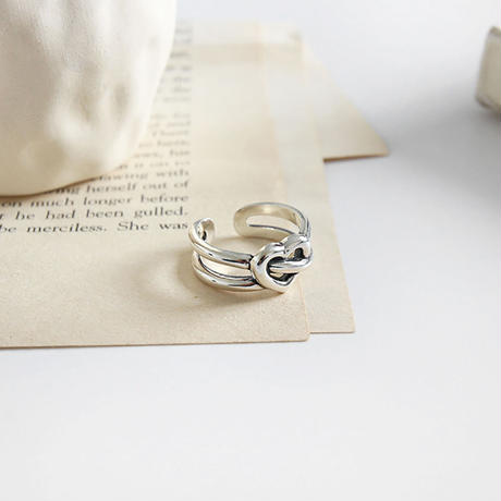 silver925 double line heart ring