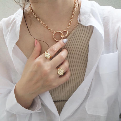 【ゆうパケ対象】 ring chain necklace