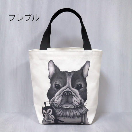 【LOVE CREW】日本製帆布イラストミニトートバッグ フレブル/パグ