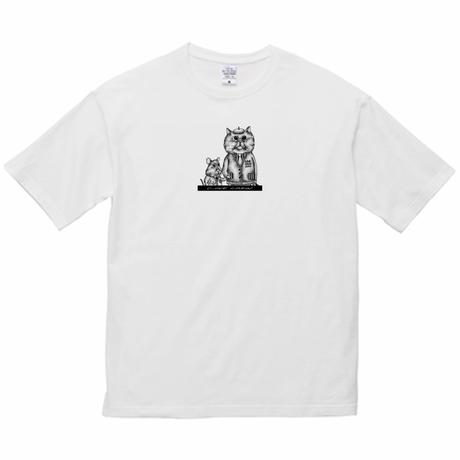 【LOVE CREW】選べる柄とサイズ  ユニセックスビッグデザインTシャツ-ねことねずみa【送料無料】