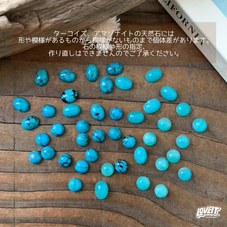 【イニシャル刻印&チェーン付き】ターコイズ&アマゾナイトオーバルネックレス
