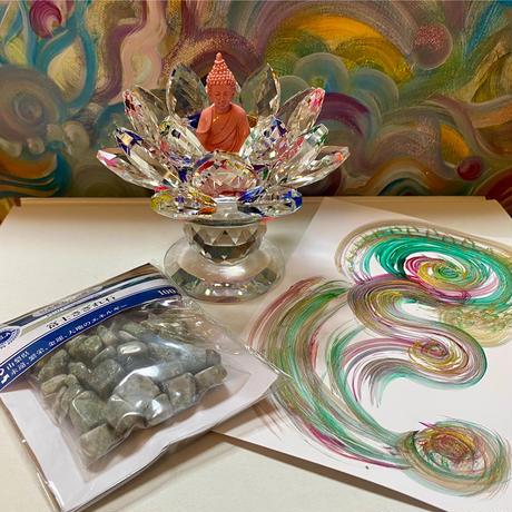 光のオーラクリスタルガラス 浄化セット 蓮ミックスカラー