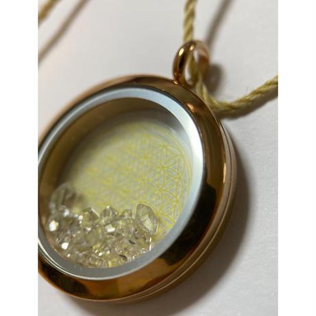 ピンクゴールドハーキマーダイヤモンド&フラワーオブライフペンダント 波動紐付