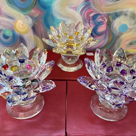 光のオーラクリスタルガラス 浄化セット 蓮パープル