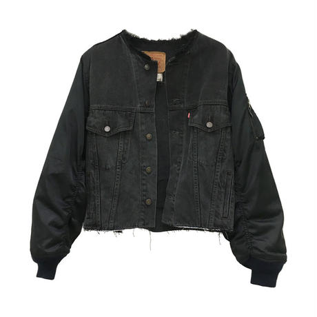 Kidole. MA-1 SLEEVE DENIM JACKET