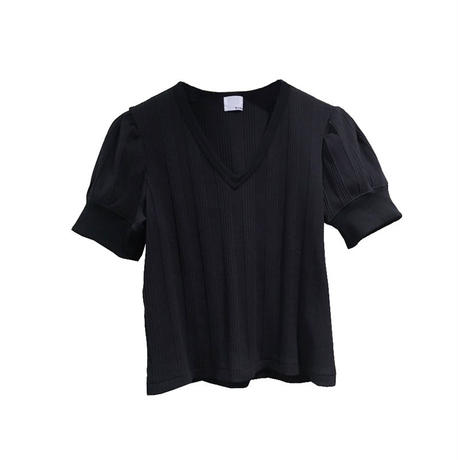 k3&co. RIB PUFF SLEEVE TOP