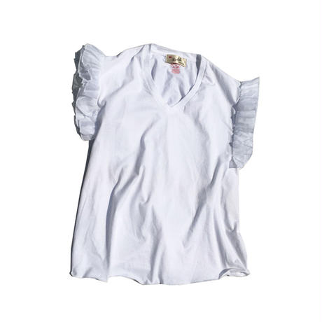 Kidole. FRILL SLEEVES V-NECK T-SHIRT