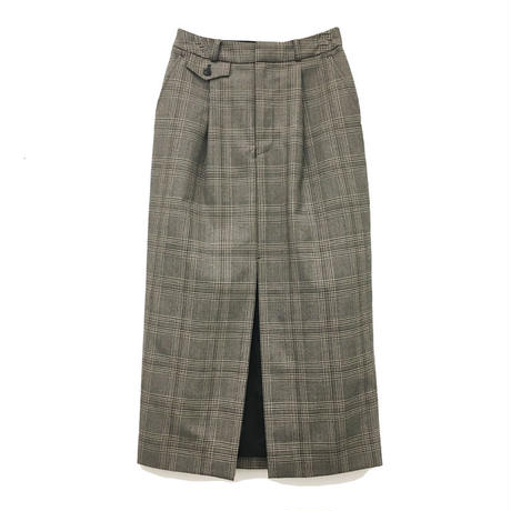 JOHN LAWRENCE SULLIVAN CHECKED WOOL TAILORED SKIRT