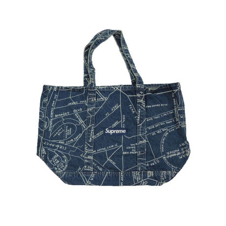 Supreme Gonz Map Denim Tote Washed Blue