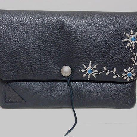 Leather & Studs Clutch Bag