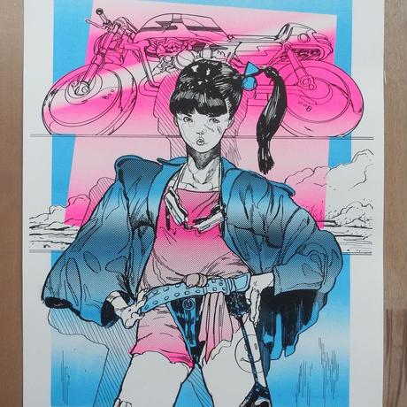 Risograph Print  03Ponytai(リソグラフ03ポニーテール)