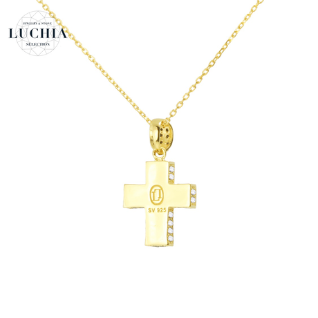 Luxury Series Pave Cross Necklace gold