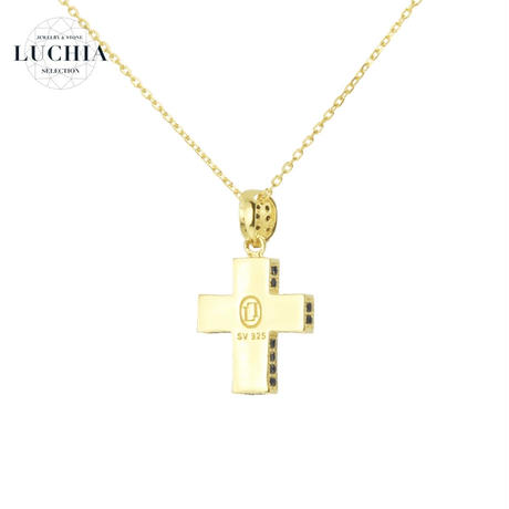 Black Line Series Pave Cross Necklace gold