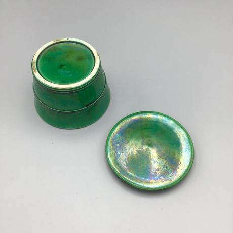 珉平焼 緑釉桶型蓋物