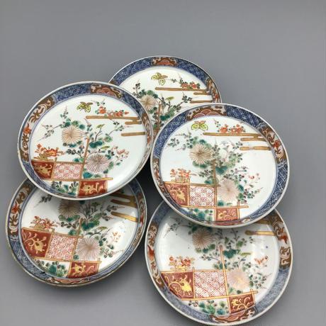 伊万里 菊図小皿 (5枚揃)