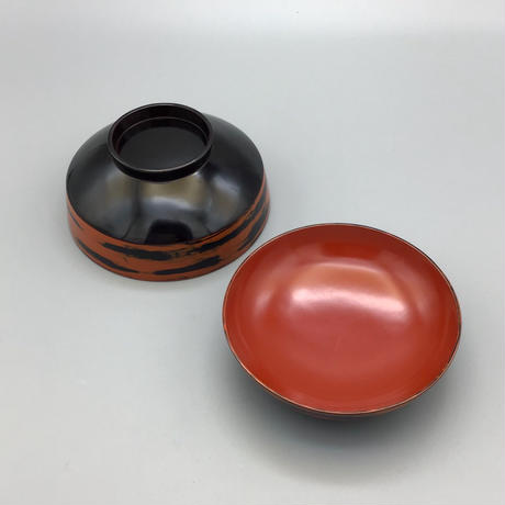 身研出し外黒内朱厚物椀(各) φ12.6 x H8.2