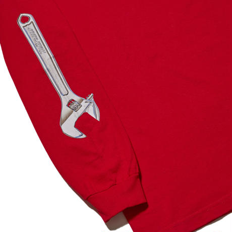 HELLRAZOR【 ヘルレイザー】WRENCH ARM LONG SLEEVE SHIRT RED ロンT レッド