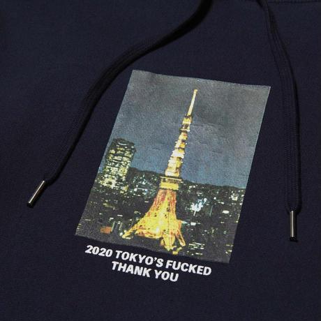 HELLRAZOR【 ヘルレイザー】THANK YOU TOKYO HOODIE  プルオーバー パーカー ネイビー