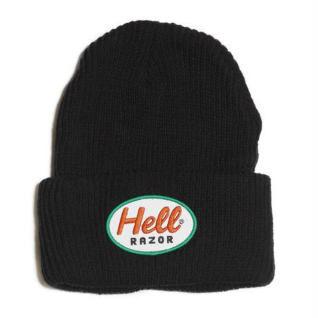 HELLRAZOR【 ヘルレイザー】MACK PATCH KNIT CAP BLACK キャップ 帽子 ブラック