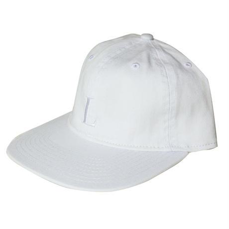 LUCKYWOOD【 ラッキーウッド】L logo flat visor 6panel  cap キャップ 帽子 ホワイト