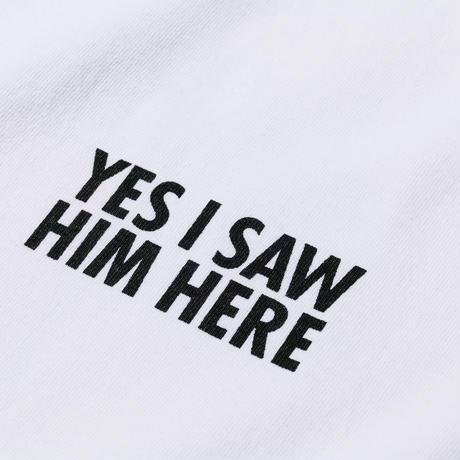 坩堝【 るつぼ】YES I SAW HIM HERE LS T-SHIRTS(RUTSUBO×ALLRAID) L/S TEE ロンT ホワイト