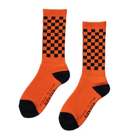 坩堝【 るつぼ】CHECKER SOCKS 靴下 ソックス オレンジ