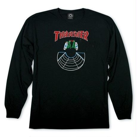 THRASHER【 スラッシャー】DOUBLES L/S TEE BLACK ロンT ブラック