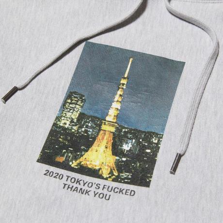 HELLRAZOR【 ヘルレイザー】THANK YOU TOKYO HOODIE  プルオーバー パーカー グレー