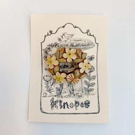 【kinopoe】花リースブローチ