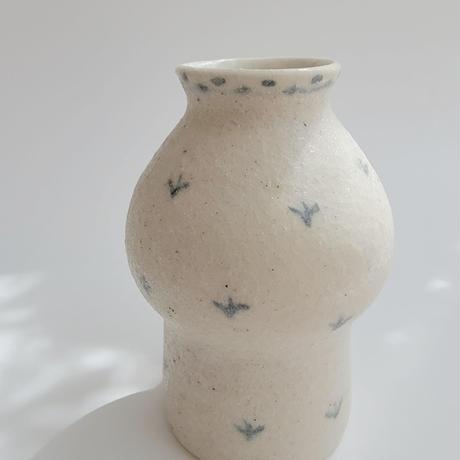 【小渕祥子】花瓶M/ブルー・草花柄