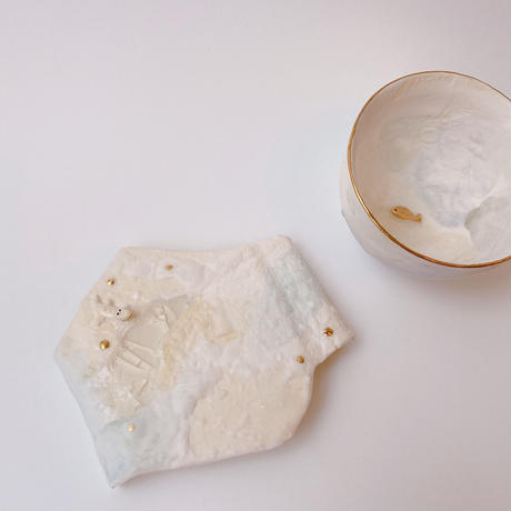 【KAZUYO NAKATANI】カラフル金彩菓子皿・小ワニ(イエロー)