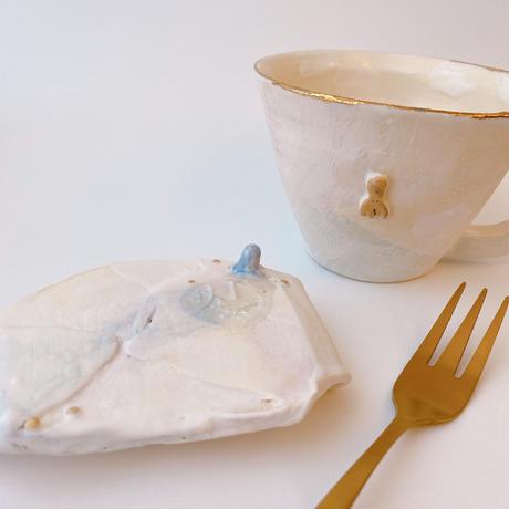 【KAZUYO NAKATANI】カラフル金彩菓子皿・小タコ(ブルー)