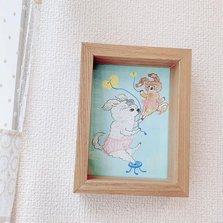 【eikobo】絵画/犬とちょうちょ