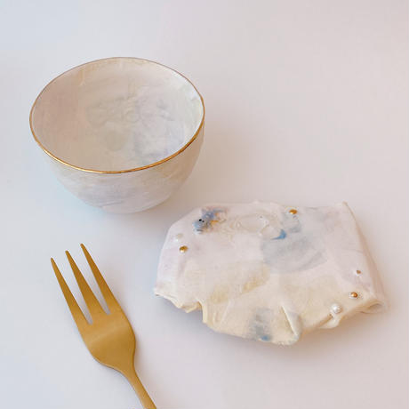 【KAZUYO NAKATANI】カラフル金彩菓子皿・小ワニ(ブルー)