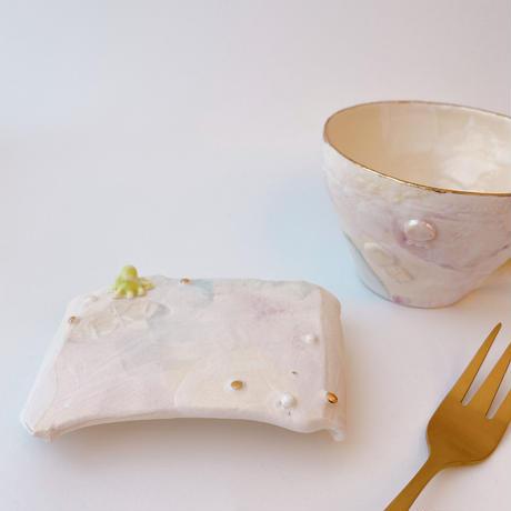 【KAZUYO NAKATANI】カラフル金彩菓子皿・小タコ(グリーン)