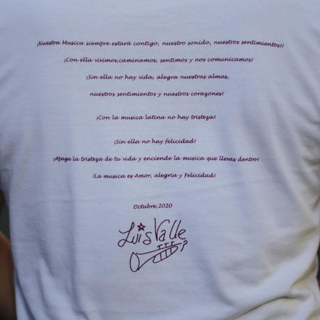 La musica es Amor Tシャツ(ルイス・バジェ直筆サイン入りポストカード付き)