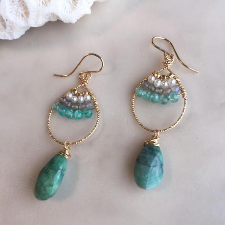Shizuku hoop pierced(emerald)
