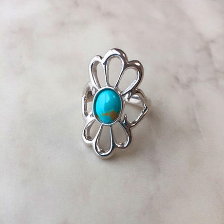 Flower silver ring (Turquoise)