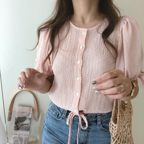 shirring blouse / pink