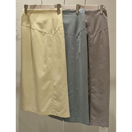 【切替えスエードタイトスカート】