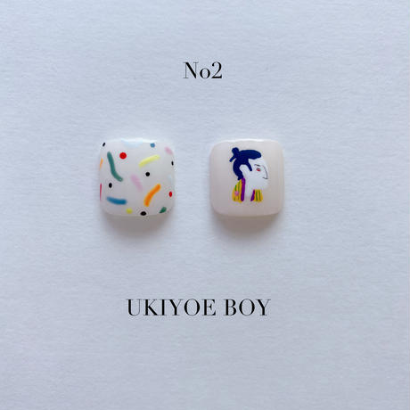 ONE DAY CHIP FOR FOOT  /きせかえ親指アートチップ2枚セット・ No.2 UKIYOE BOY / ウキヨエボーイ[FC-02]