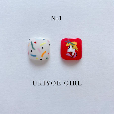 ONE DAY CHIP FOR FOOT /きせかえ親指アートチップ2枚セット・ No.1 UKIYOE GIRL / ウキヨエガール[FC-01]