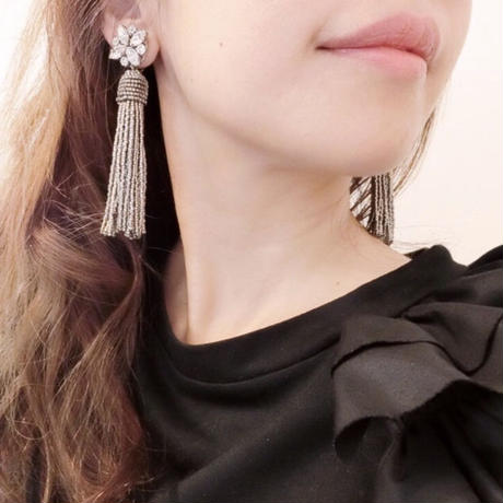 silver beads tassel pierce&earring